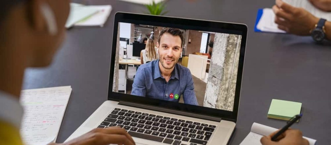 Business man on video call